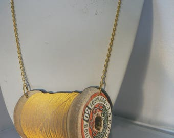 sewing bee thread giant  tatty vintage spool necklace woodcut lasercut yellow