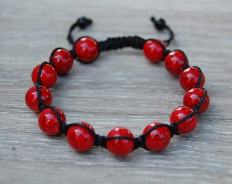 Red Coral Stone Bracelet,Red Coral Stone Shamballa Bracelet,Red Bracelet,Yoga,Meditation,10mm Stone Beads,Man,Women,Ethnic Bracelet