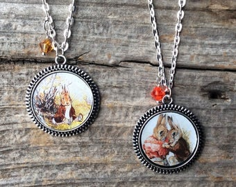 Peter Rabbit necklace, Peter Rabbit jewelry, Tale of Peter Rabbit, Beatrix Potter jewelry, Easter gift for her, kids, Easter bunny gift