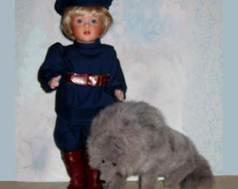 New Wendy Lawton PETER And The WOLF all porcelain doll, plush wolf, Childhood Classics, 1992  limited edition,  Made in USA, Never Displayed