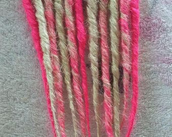 Pink and blonde single or double ended synthetic dreads dreadlock extensions