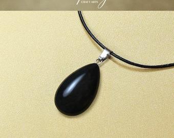 Protection pendant, Obsidian pendant necklace, Drop shape Obsidian pendant, Protection Jewelry, Negativity Neutralizer, InfinityCraftArts