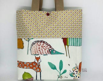 "bag ""funny animals"" fully coated fabric to carry all"