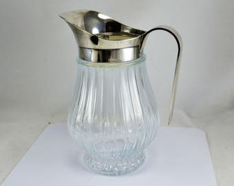 Italy Pitcher Silver Plate - Ice Lip Catch  Ribbed Glass Pitcher - Screw Top - Pedestal Base