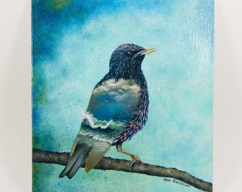 "Original oil painting on a canvas by Yana Khachikyan, ""The world in my wings"" (Starling, bird, sea waves)"