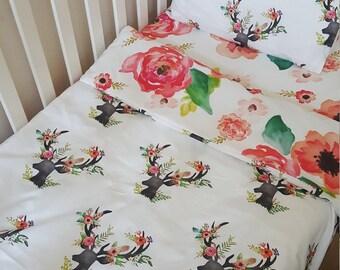 Floral deer and Floral Dreams Toddler duvet/doona cover set. Boho chic. Toddler bedding.   Crib/cot bedding.