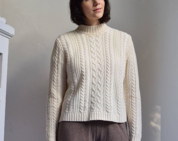 Lambswool & Angora Blend Cableknit Fishermans Sweater.