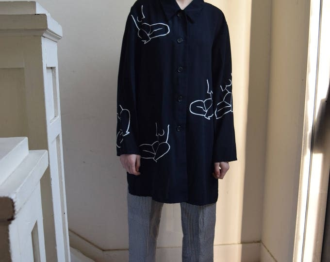 Moira Oversized Navy Polyester Button Up
