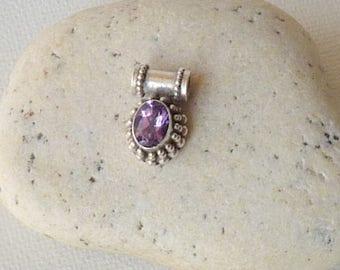 Sterling Silver Amethyst Pendant Vintage Small Purple Amethyst, Slider Pendant, Minimalist Amethyst Jewelry, Retro Oval Amethyst Pendant