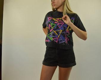 Crop top 80s t-shirt geometrical shirt - Medium