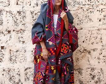 Traditional Antique Tribal Blanket Shawl Vintage Handwoven Blanket Tribal Home Decor Wool Blanket Textile Blanket