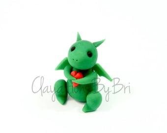 Handmade Polymer Clay Mini Heart Dragon - Green