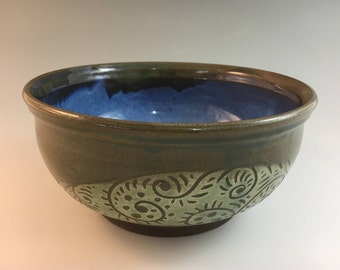 Pottery Serving Bowl, Stoneware Serving bowl, Ceramic Serving Bowl, Sgraffito Serving Bowl, Salad Bowl