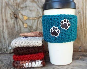 Paw Print Coffee Mug Cozy, Pet Lover Mug Cozy, Coffee Cup Cozy, Coffee Mug Sleeve, Coffee Cup Sleep, Crochet Coffee Cozy, Novelty Gift