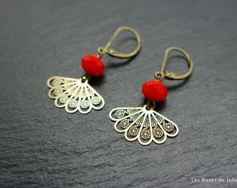 Earrings art deco fan, earrings