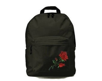 Black backpack with Rose patch 33x41x19cm