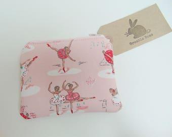 Handmade Cath Kidston Ballet Purse, Ballet Coin Purse, Dancing Pink Cotton Card Wallet