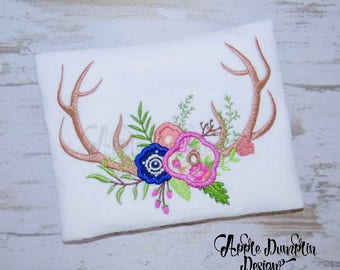 Antlers with Flowers, Applique Design, Machine Embroidery Design, Deer Antlers, Floral Antlers, Farm Embroidery, 4x4, 5x5, 5x7, 6x10