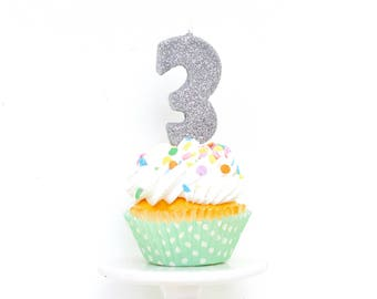 "3"" Glitter Number 3 Birthday Candle, Giant Birthday Candle, Large Birthday Silver or Pink Candle, Birthday Glitter Candle"