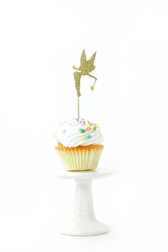 Tinkerbell Gold Glitter Cupcake Toppers, Gold Tinkerbell Toothpicks, Gold Party Decor, Food Decoration, Disney Party Decor, Fairytale Decor
