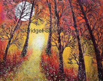 Summer Forest/Limited Edition print/bridget skanski-such/trees/yellow/wall art/forest/moon/forest/path way/fairytale/red/bare trees/orange