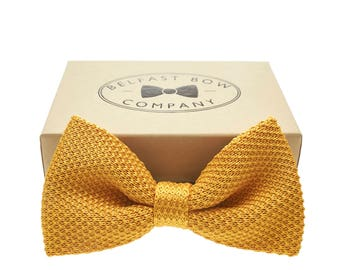 Handmade Knitted Bow Tie in Mustard Gold
