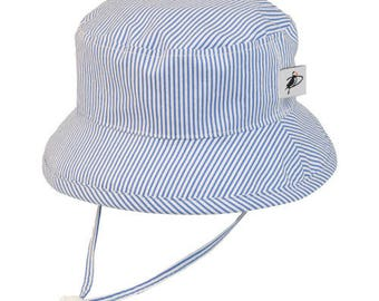 Child's Sun Protection Camp Hat - Cotton Print in Blue Natty Stripe (6 month, xxs, xs, s, m, l)