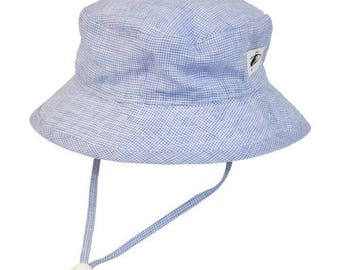 Child's Sun Protection 100% Linen Camp Hat - Summer Day Linen in Navy Check (6 month, xxs, xs, s, m, l)