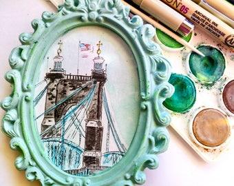 John A. Roebling Suspension Bridge, Kentucky, Aquarelle, Watercolor Painting,Original Artwork,Paintling,Small Paintings,Pastel,Mini painting