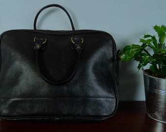 Bag black leather - leather man bag - office door documents or computer - Valentine's day gift for her - for him