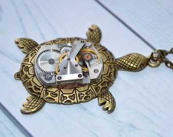 Steampunk turtle pendant Turtle pendant necklace  Steampunk Sea Turtle gift-for-girlfriend gift-for-wife gift women gift-for-sister for her