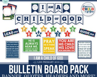 2018 LDS Primary Theme Bulletin Board Printable Kit - I am a child of God - Moon Theme - MB