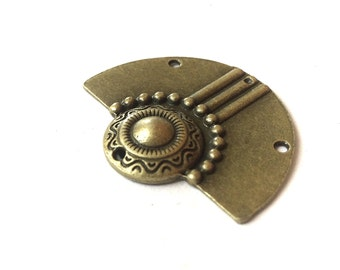 """2 x antique connector, bronze findings, half circle, 4 holes, pattern carved, 3.7  x 3cm, 1.46"""" x 1.2"""""""