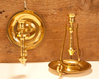 Solid Brass Ship's Gimbal Candle Sconce