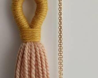 Spring Tassel Necklace. Peach & Ochre