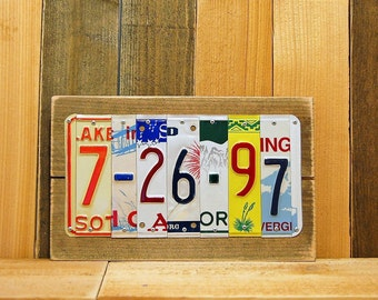3 / 5 / 10 / 15 / 20 / 25/ 30 Year Wedding Anniversary Date Aluminum Tin 10th Tenth Year Repurposed License Plates Sign Gift for Him or Her