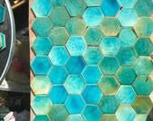 Pale Blue/Green Hexagonal Tiles *Seconds*
