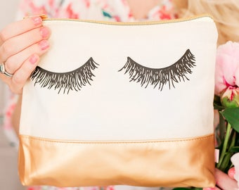Eyelash Gold Leather Makeup Bag,  Makeup Brush Holder, Makeup Organizer, Cosmetic Pouch, Storage Back To School, Pencil Pouch, Pencil Bag