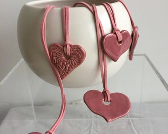 Pink Ceramic Heart Pendant on cord