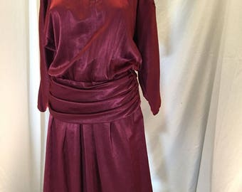 Vintage Donna Morgan For Non Stop Maroon Berry Dress ILGWU Union Made Tag 7/8