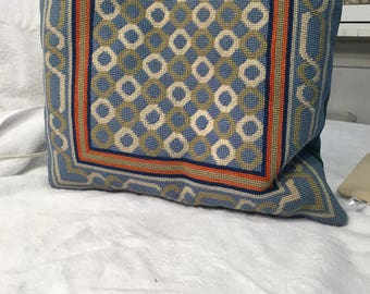 wool needlepoint accent pillow
