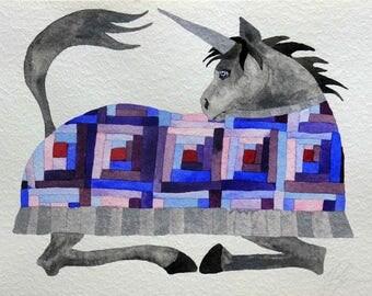 Original art, whimsical art, unicorn art, watercolor painting, kids room art, unicorn painting, whimsical animal art, nursery art, unicorn