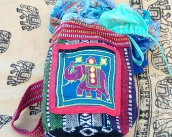 Mini Elefant Bag, Small Backbag, Kindergarten Drawstring Bag, Small Rucksack, Colorful, Unique, Banjara, India Tribal, Needlework, Children