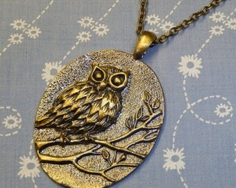 Antique Brass Large Oval Owl Pendant Necklace