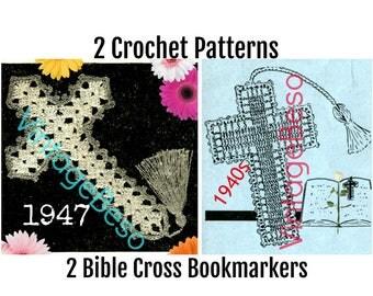 1940s Bible Cross Bookmark Crochet Pattern Vintage Crochet Bible Cross Bible Bookmark Vintage Crochet Pattern INSTANT DOWNLOAD PdF Pattern