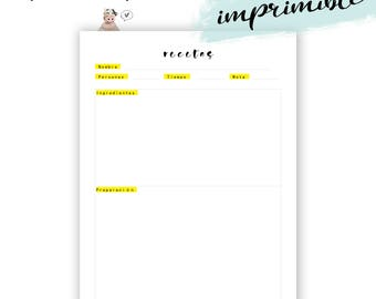 Recetario imprimible. Recetas inserto agenda.