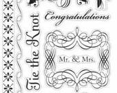 American Crafts Wedding Stamps Clear Stamp Set Mr and Mrs Stamps Tie The Knot Wedding Cake Just Married To Have And To Hold Love Stamps