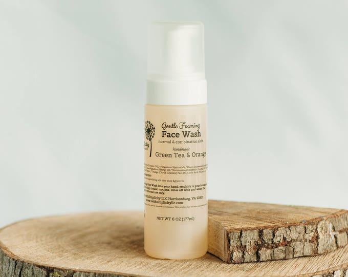 Face Wash Normal and Combo Skin, Organic with Green Tea & Orange, 8oz,  Foam