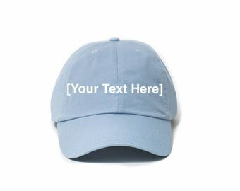 Custom Dad Hat, Custom Baseball Caps, Dad Hat Custom, Embroidered Baseball Cap, Adjustable Strap Back Baseball Cap, Low Profile, Baby Blue