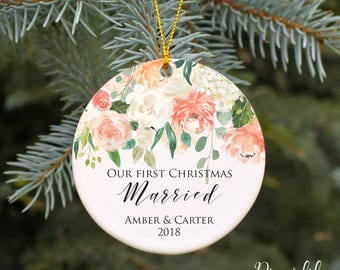 Our First Christmas Ornament Our First Christmas Married Ornament Wedding Christmas Ornament Personalized Wedding Gift Watercolor floral